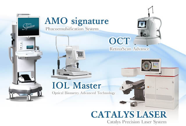 AMO signature Phacoemulsification System・ОСТ RetinaScan Advance・IOL Master Optical Biometry Advanced Technology・CATALYS LASER Catalys Precision Laser System